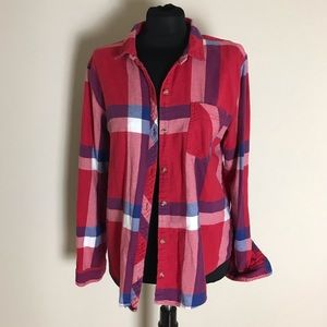 BDG Red Flannel Blouse